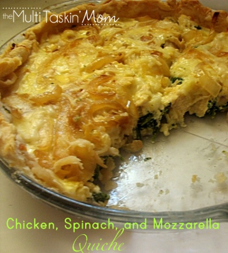 Chicken spinach and mozzarella quiche