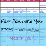 Free Printable Menu Plan for March 2014