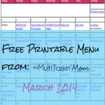 Free Printable Menu Plan for March 2014