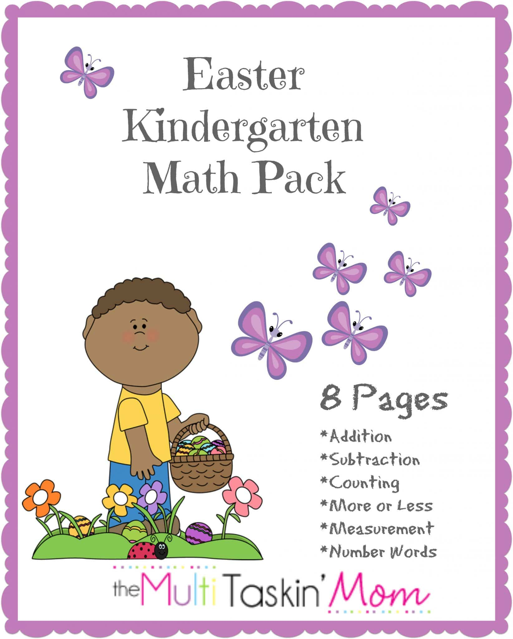 Free Easter Kindergarten Math Pack