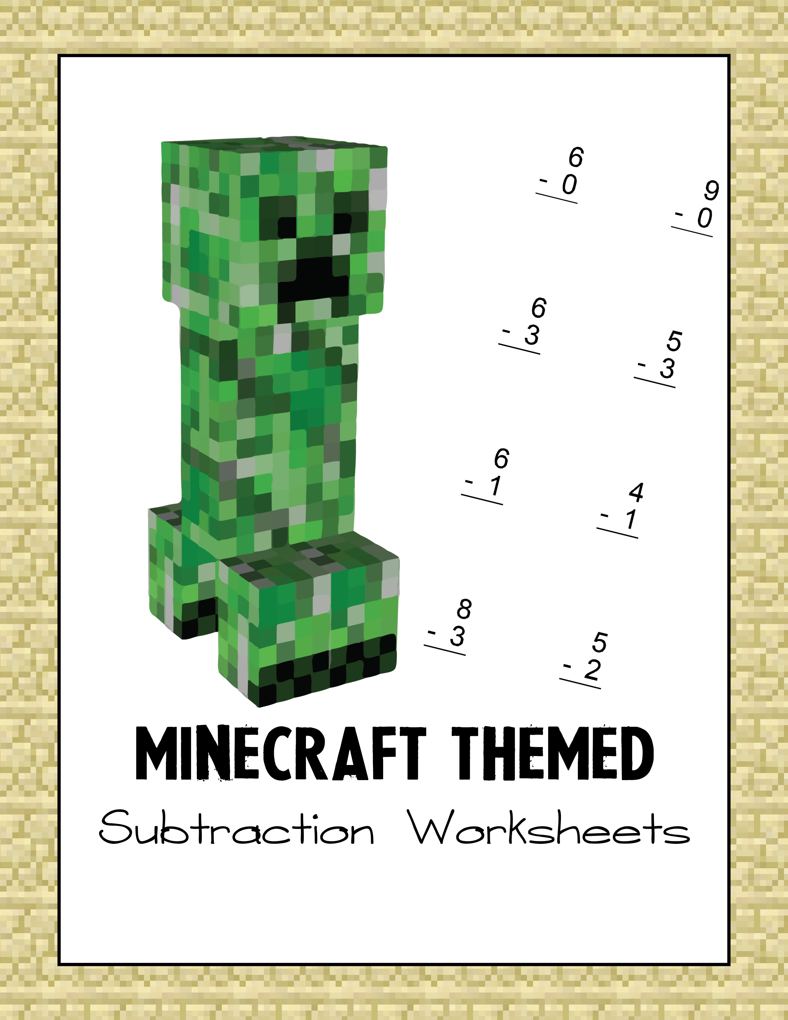 Minecraft Subtraction Worksheet-1