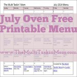 July Oven Free Printable Menu