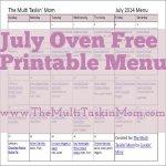 July Oven Free Printable Menu