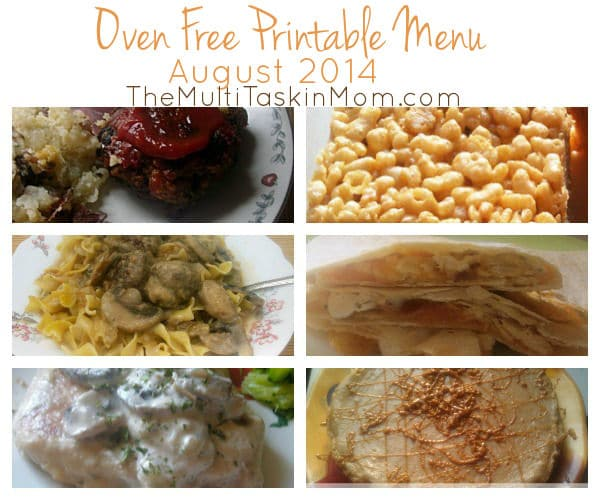 Oven Free August 2014 Free Printable Menu