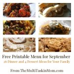 Free Printable Menu for September
