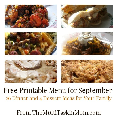 "Solve the ""What's for Dinner?"" dilemma with this Free Printable Menu for September from TheMultiTaskinMom.com"