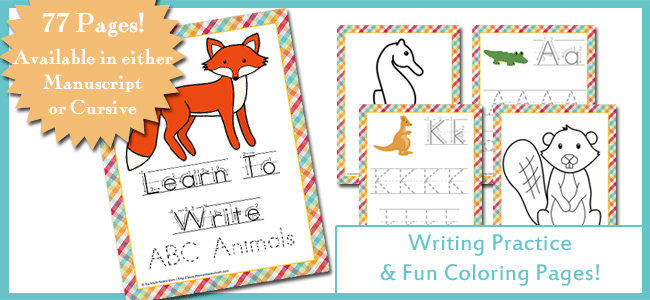 Learn To Write ABC Animals Slider