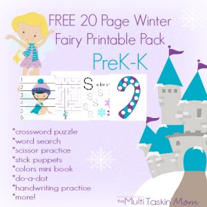 FREE 20 Page Winter Fairy Themed Printable Pack