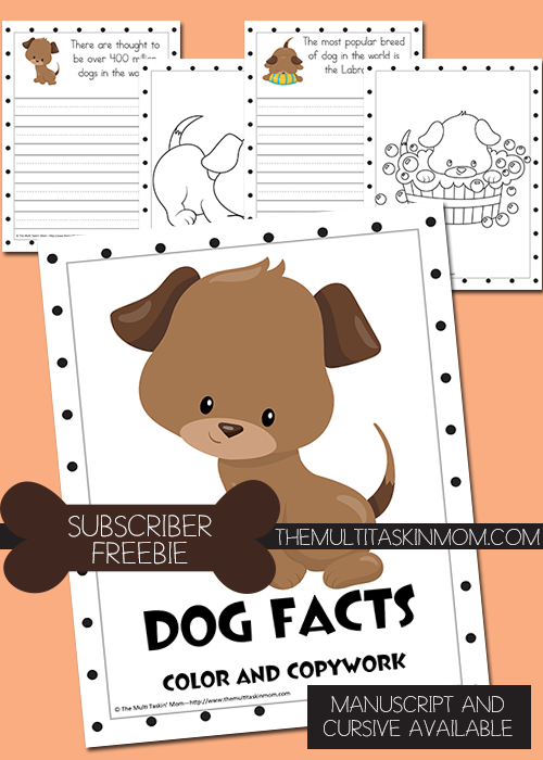 Dog Facts Color and Copywork FREEBIE