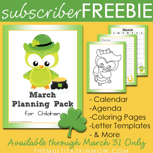 March Childrens Planning Pack Subscriber Free