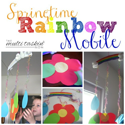 Make this fun and colorful Springtime Rainbow Mobile with your preschooler today!