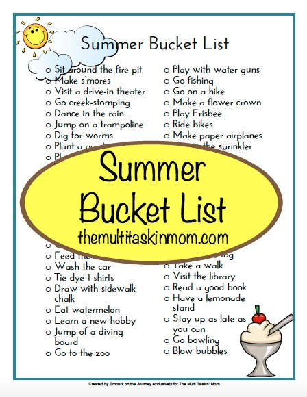 photo relating to Bucket Printable known as Free of charge Printable Summertime Bucket Checklist - The Multi Taskin Mother