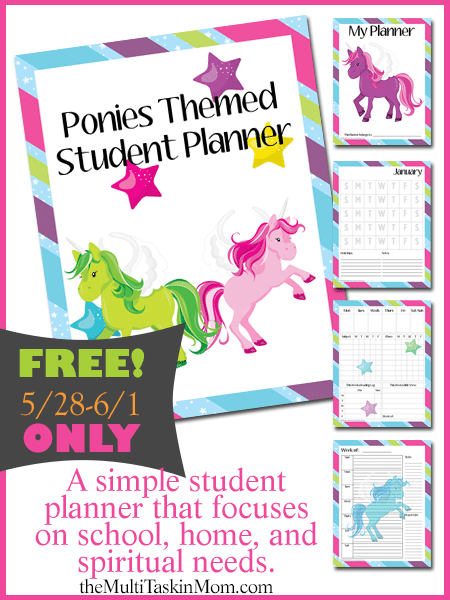 FREE Ponies Themed Student Planner
