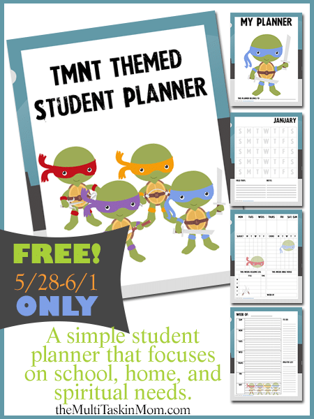 FREE TMNT Themed Student Planner - Limited Time