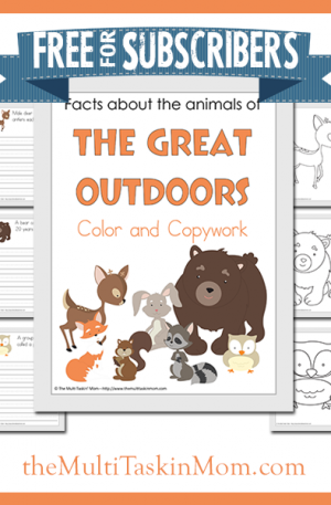Animals of the Great Outdoors Color and Copywork