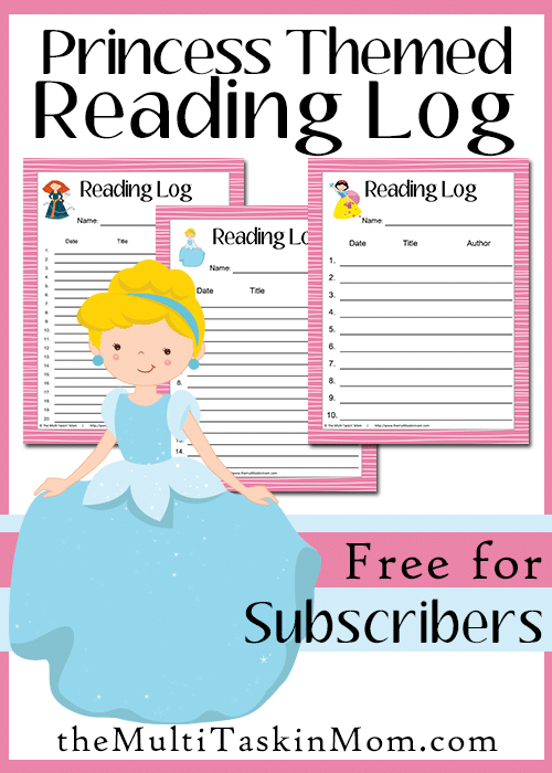 Princess Themed Reading Logs Free for Subscribers