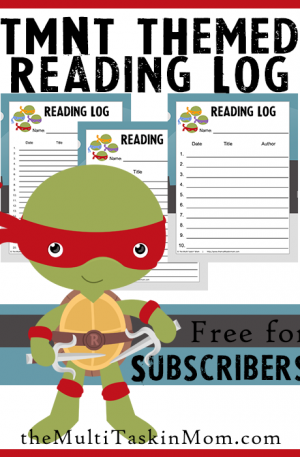 TMNT Themed Reading Logs