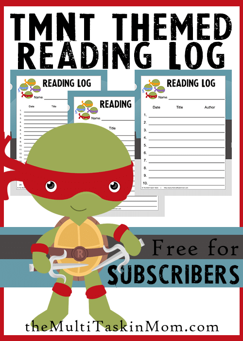 TMNT Themed Reading Logs FREE - Grab yours today