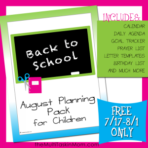 August Children Planning Pack free for limited time