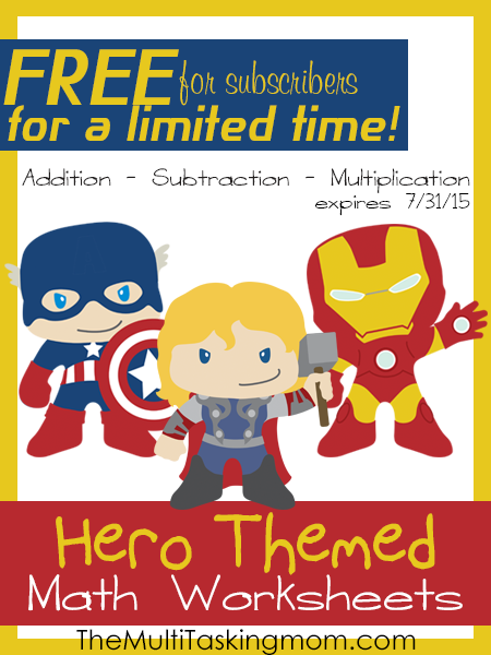 Hero Themed Math Worksheets