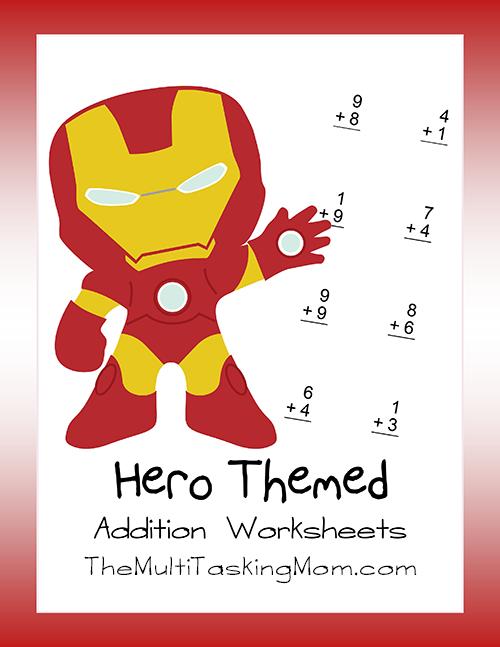 hero themed addtion worksheets the multi taskin 39 mom. Black Bedroom Furniture Sets. Home Design Ideas