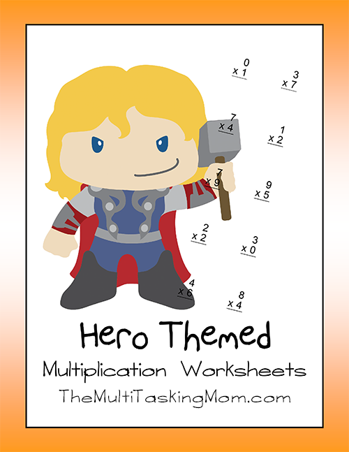 hero themed multiplication worksheets the multi taskin 39 mom. Black Bedroom Furniture Sets. Home Design Ideas