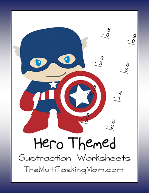 Hero Themed Subtraction Worksheet