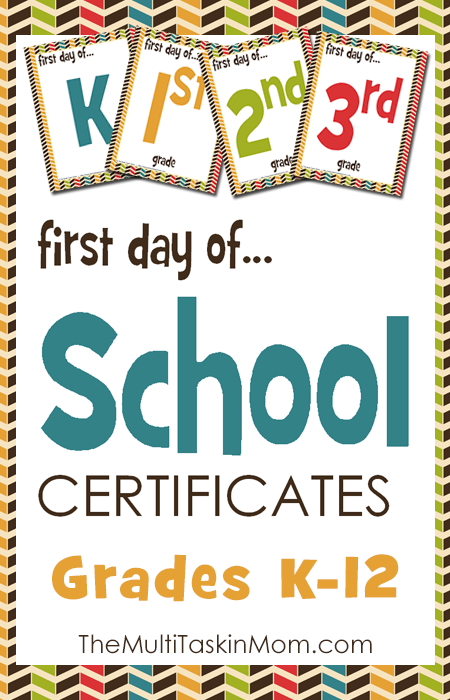 FREE First Day of School Certificates