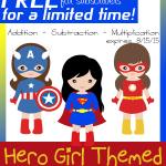 Hero Girl Themed Math Worksheets
