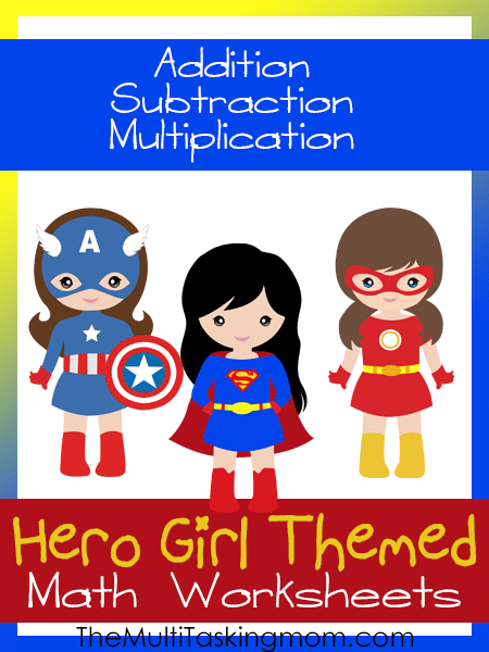 Hero Girl Themed Math Worksheets