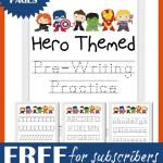 Free Hero Themed Pre-Writing Practice