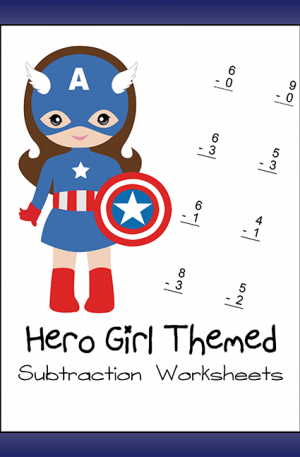 Hero Girl Themed Subtraction