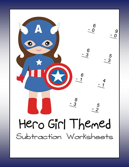 Hero Girl Themed Subtraction