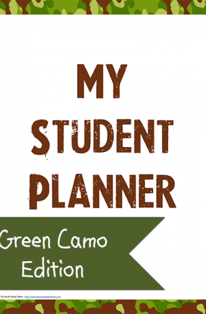 Green Camo Student Planner