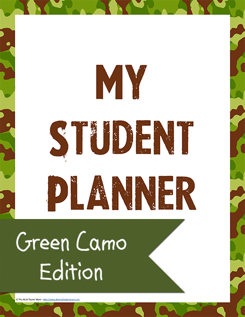 Student Planner – Green Camo