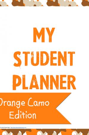 Orange Camo Student Planner