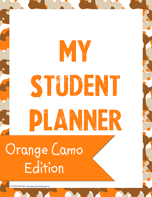 Student Planner - Orange Camo