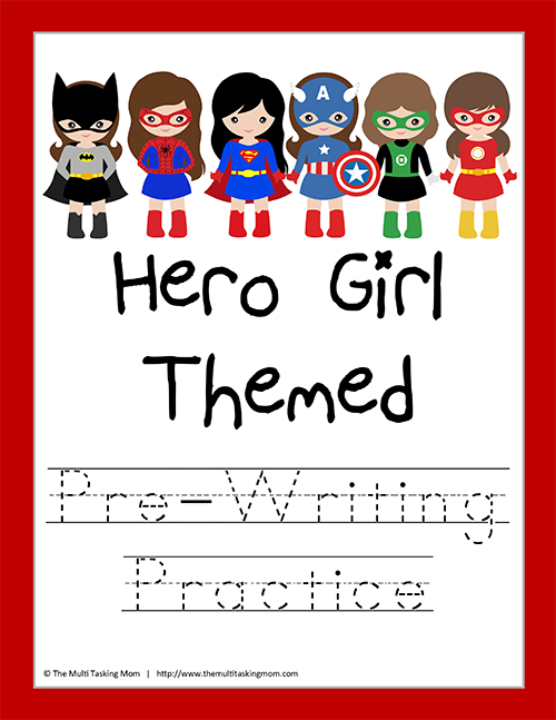 Hero Girl Themed Pre-Writing Practice-1