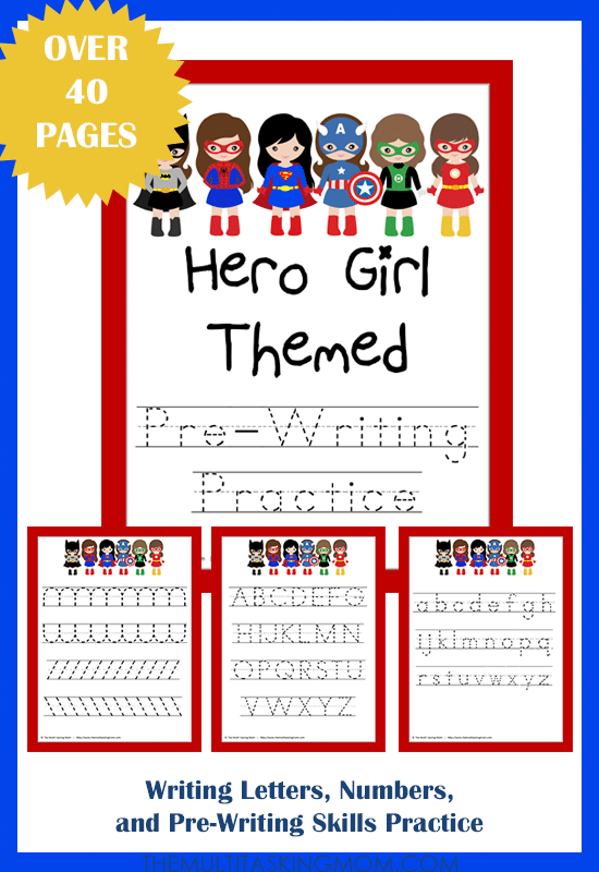 Hero Girl Themed PreWriting Practice