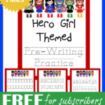 Hero Girl Themed Pre-Writing Practice