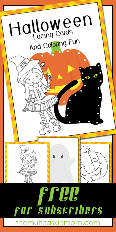 Halloween Lacing Cards and Colring Fun Pack for Subscribers
