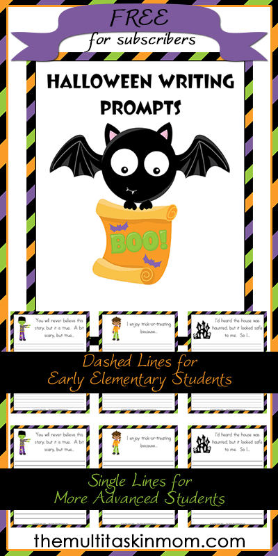 Halloween Writing Prompts FREE from The Multi Taskin Mom 2 Styles to Choose From