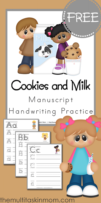 Cookies and Milk Manuscript Handwriting Practice for FREE from The Multi Taskin Mom