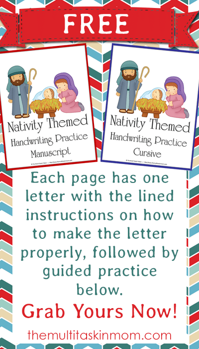 FREE Nativity Themed Handwriting Practice availible in both manuscript and curisive - Grab yours now