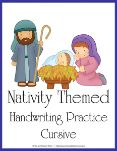 Nativity Themed Handwriting Practice - Cursive-1