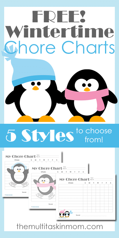Wintertime Themed Chore Charts for Children with 5 Different Styles To Choose From
