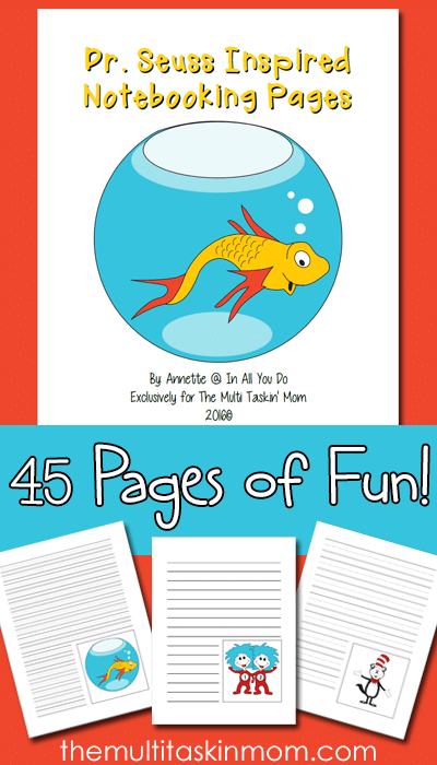 Dr. Seuss is an icon in the reading world. Celebrate his birthday and reading on March 2nd with these FUN Notebooking Pages! Includes 45 templates for various ages! :: www.themultitaskinmom.com