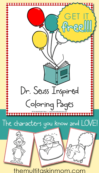 Grab your FREE Dr Seuss Inspired Coloring Pages