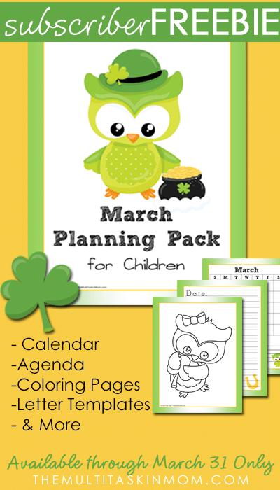 March Planning Pack for Children is Available for FREE through March 31