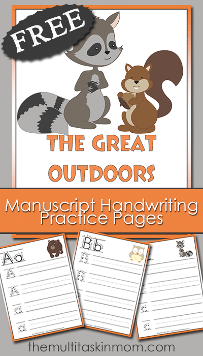 The Great Outdoor Manuscript Handwriting Practice Pages PreK - 2